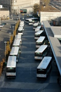 Image shows GO buses parked at the station.