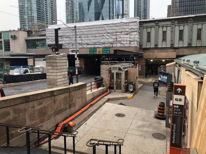 The view from the west side of Union Station on Bay Street looking south.
