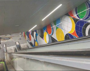 Image is of coloured circles on the wall.