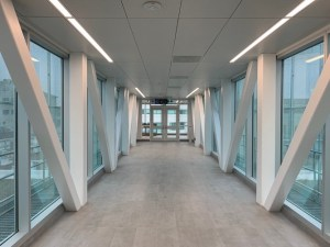 The view inside the glass and metal bridge.