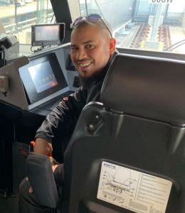 Image shows Simmons on an UP train.