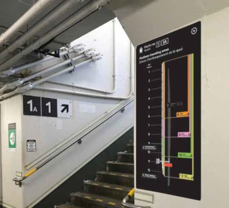 photo of the new boarding sign in the tunnel below the platform