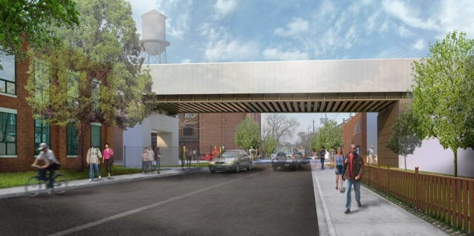 Image shows a rendering of an overpass