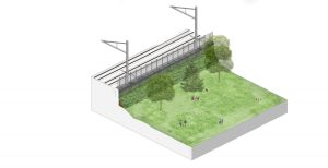 Image shows a park and nearby rails, divided by a noise wall.