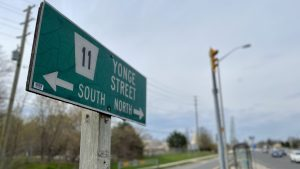 Image shows a Yonge Street road sign.