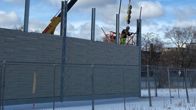 An example of noise walls being installed along the Barrie GO Line this past winter