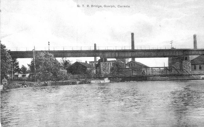 An undated historical photo of the Speed River Bridge in Guelph