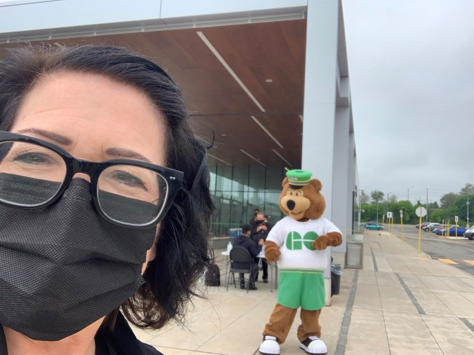 Image shows Anne Marie and GO Bear