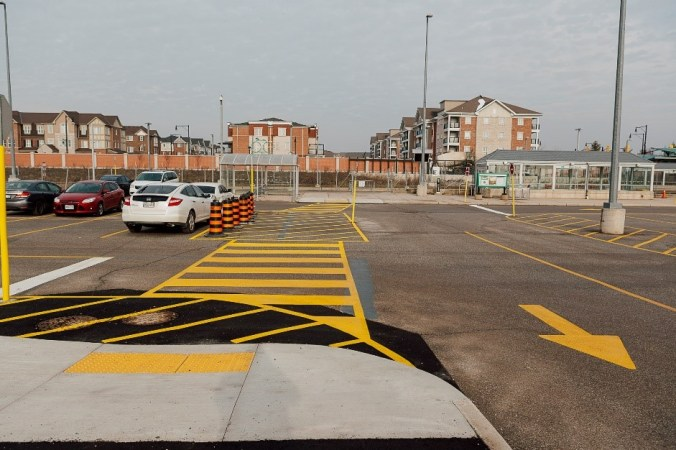 Image shows painted lines on a parking lot.