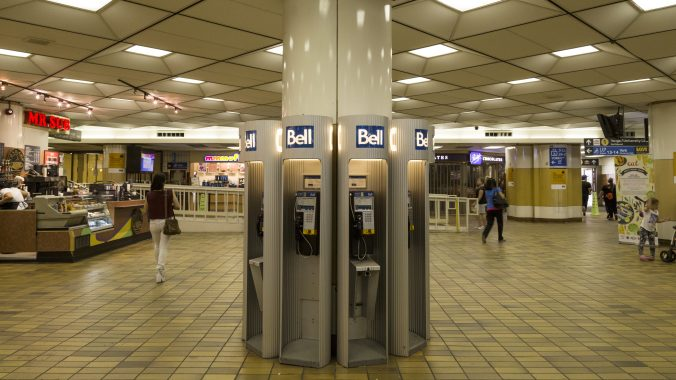 a closeup of the payphone bank in the old bay concourse