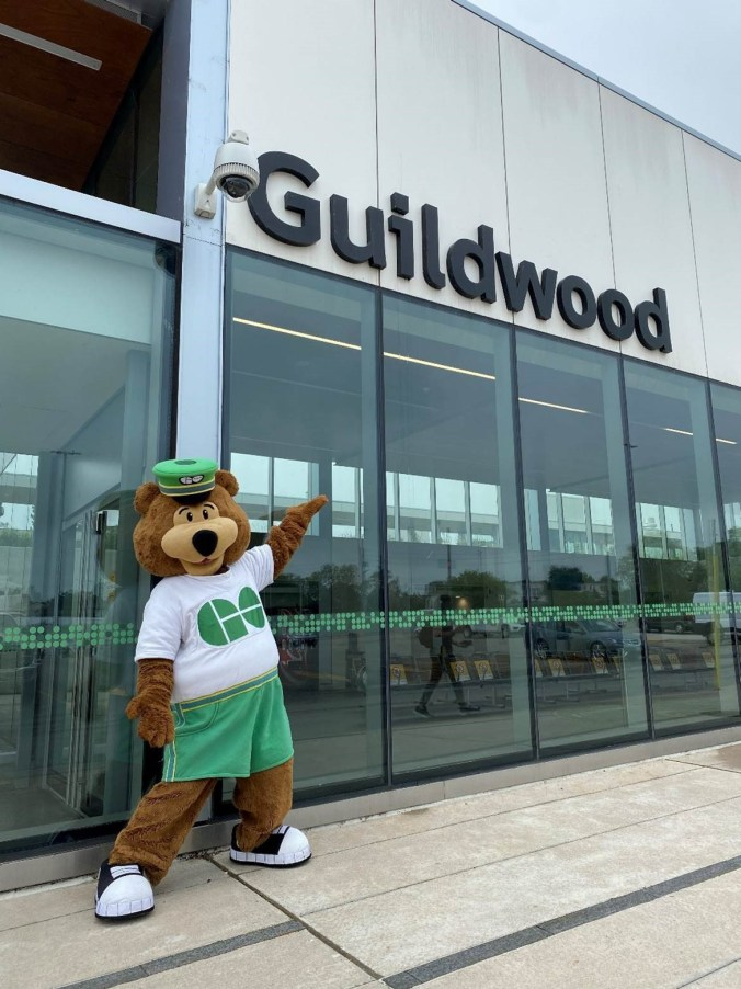 Image shows GO Bear at the station