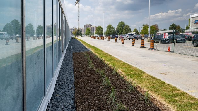 landscaping in front of Science Centre Station