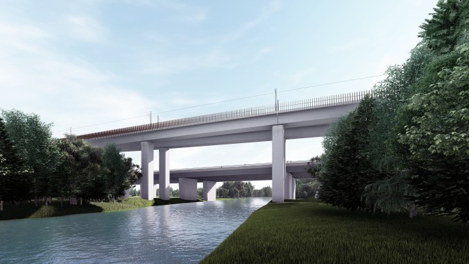 Artist's rendering of the elevated guideway over the Humber River, showing the piers outside the riverbed.