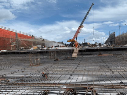 Rutherford GO grade separation (east side): Base slab and retaining wall works.