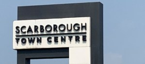 Image shows the Scarborough Town Centre sign.