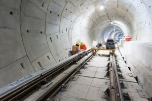 Image shows crews working in the subway.