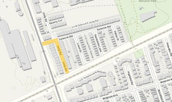 Image shows a map of construction