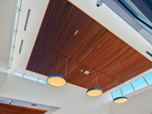 Image shows the ceiling windows and lights.