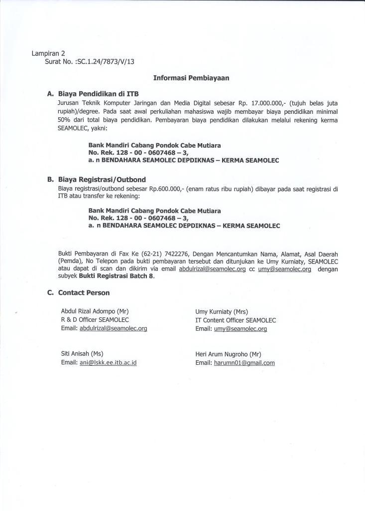 Pengumuman D3-D4 ITB-SEAMOLEC Batch 8 Gelombang 1-004