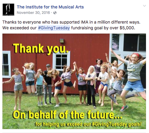 Institute for the Musical Arts thanks their supporters on Facebook
