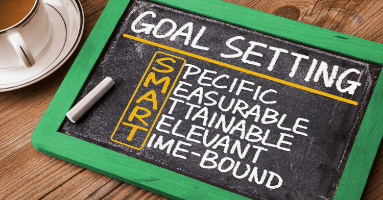 "Slate board with ""SMART goals"" defined in chalk"