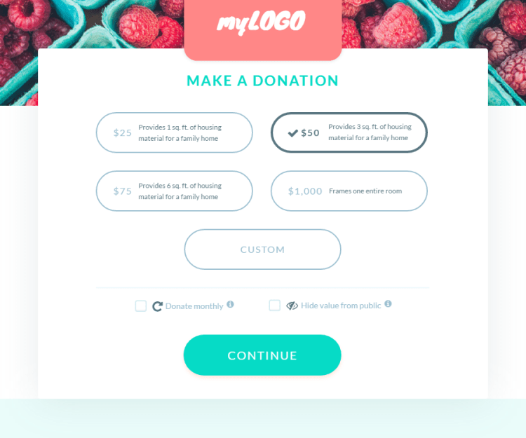 screenshot of custom donation page suggested amounts