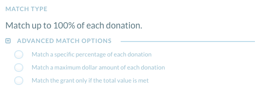 matching grant tool - match type