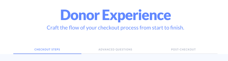 donor experience tabs