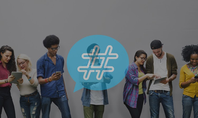 multicultural group of people on mobile devices with a hashtag graphic