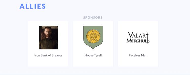 screenshot of events sponsor section