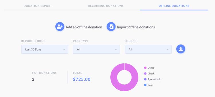 screenshot of offline donation view