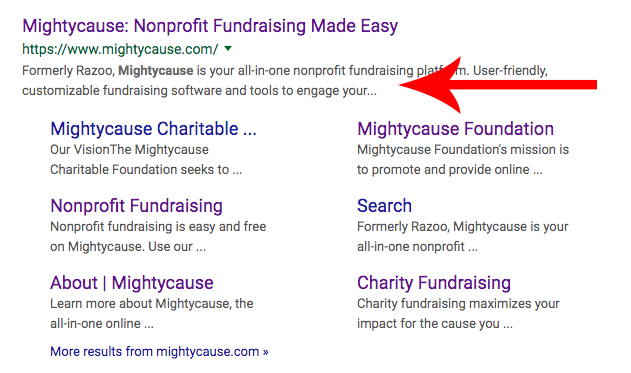 Mightycause's meta description in a search engine result page