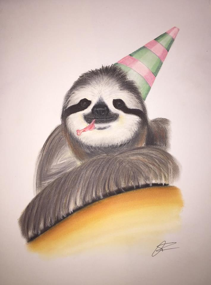 painting of a sloth in a party hat