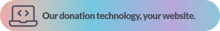 "text banner that says ""our technology, your website"" on a rainbow background"