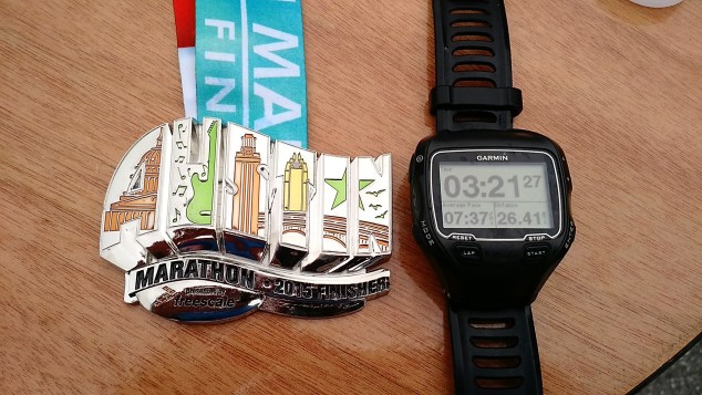 2015 Austin Marathon watch-medal