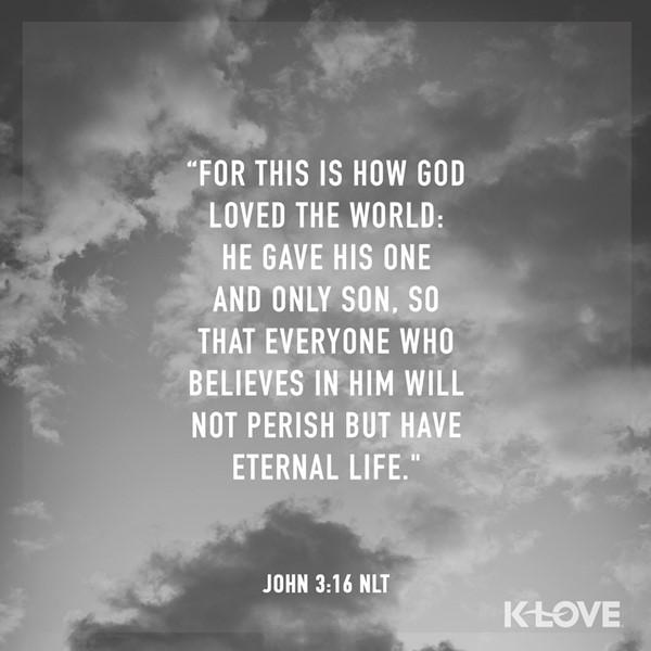 John 3:16 (NLT)