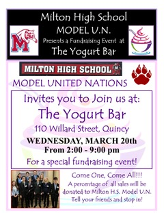 The MHS Model UN is hosting  a fundraiser Wednesday, March 20th at the Quincy Yogurt Bar.