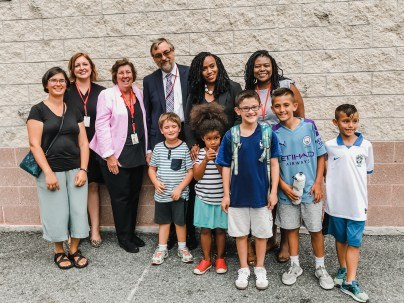 Congresswoman Ayanna Pressley greeted Tucker students and families at the end of the 1st day of school.