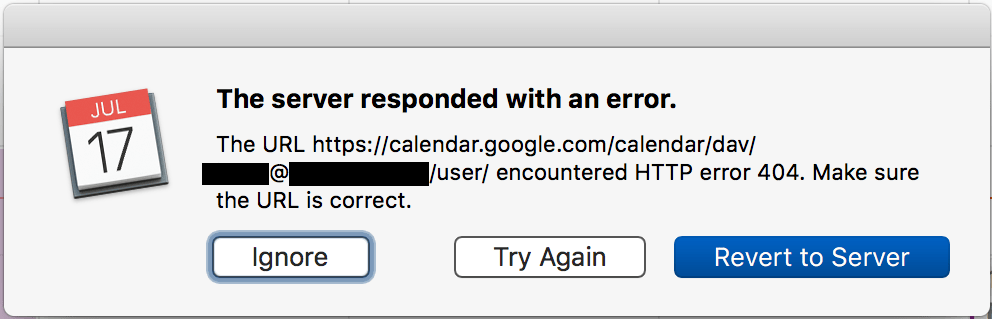 Apple Calendar for MacOs sync error