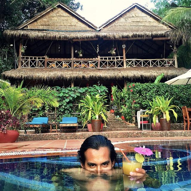 Jose Ramirez in the pool at Kep Lodge Cambodia