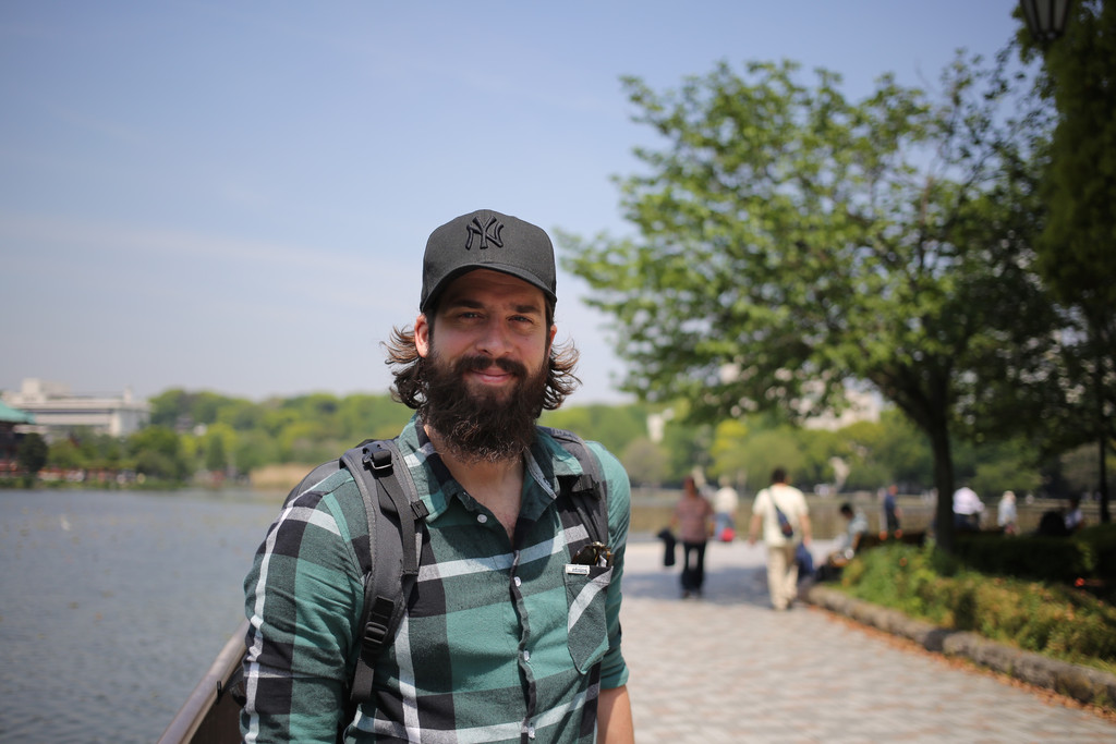 Mr. Madsen at Ueno Park With His Minaal Carry-on Backpack