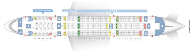 How to sleep on a plane – SeatGuru seating map example
