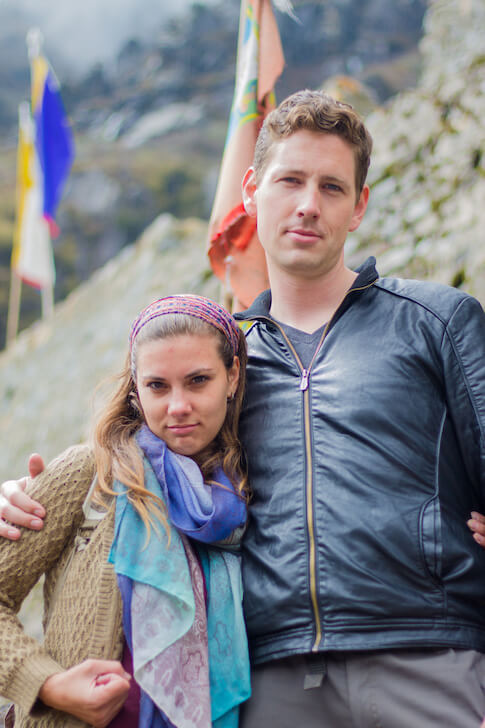 The Ticket To Travel Danica and Nathan Tough Pose Himalayas