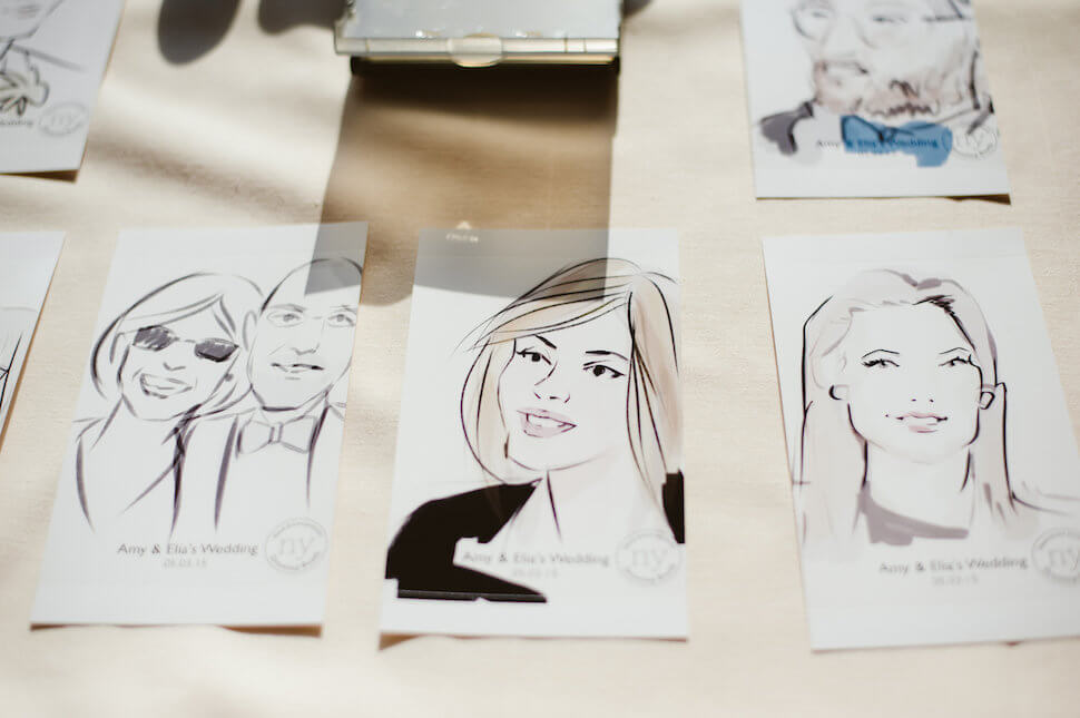 Drawing Booth wedding portraits printed