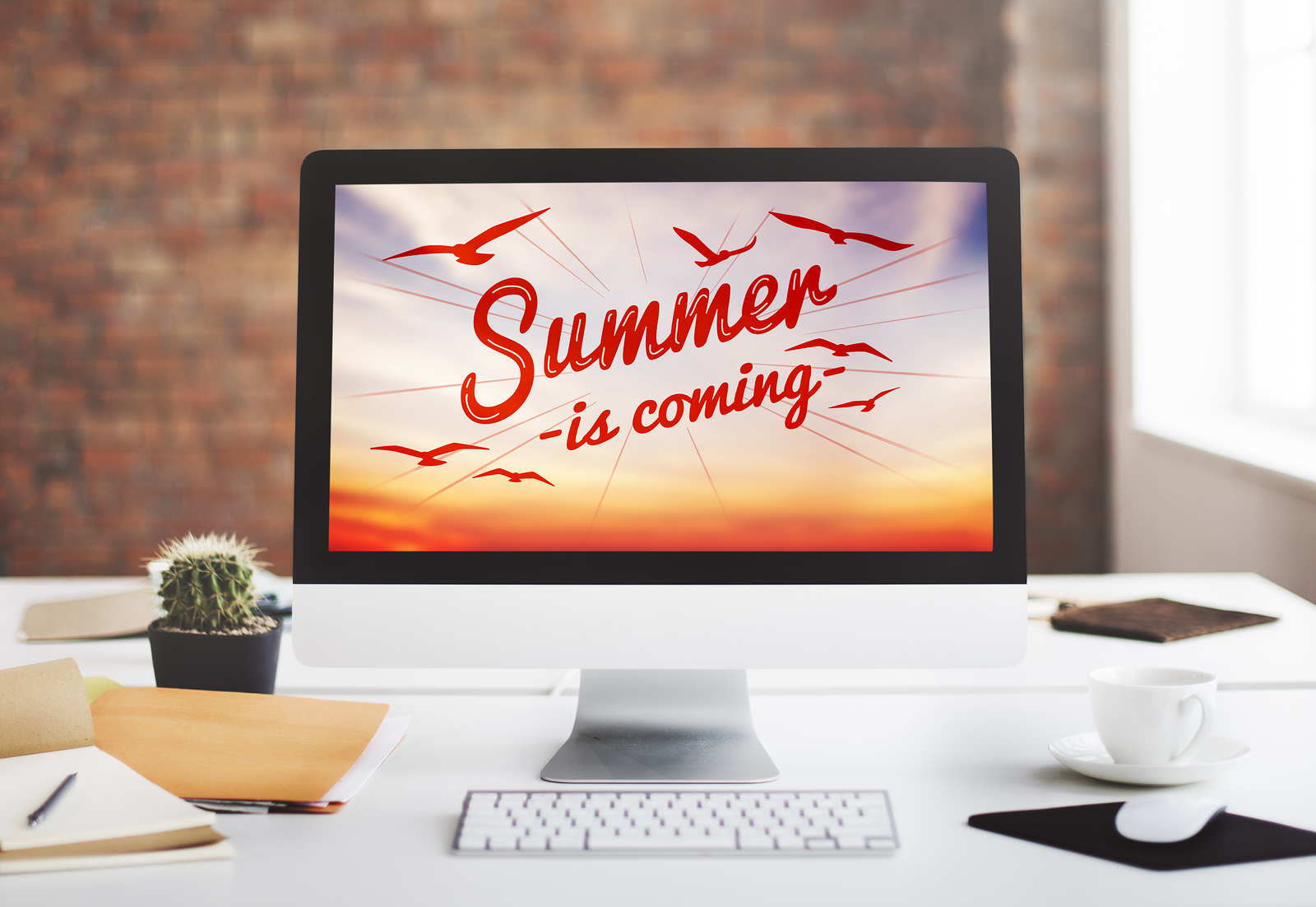 summer time text on a cool computer screen