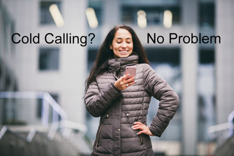woman out in the cold calling on her cellphone