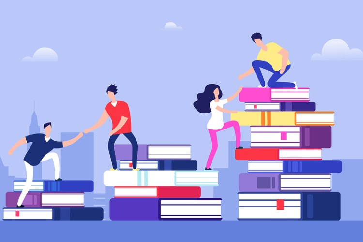 leveling up your agency, improvements, people helping each other climb up stacks of books