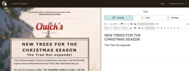 Geänderte Texte werden im WYSIWYG-Editor in Mailchimp sofort angezeigt