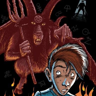 """Forsidetegning til""""Nøglen til helvede"""" af Peter Grønlund"""