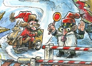 Uddrag fra julemærket 2017. Postbudet og ledvogteren - Excerpt from the Christmas stamp Sheet 2017. The Postman and the caretaker